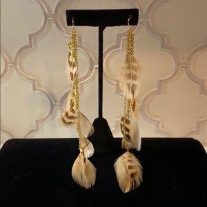 Super Long Chandelier Feather Earrings